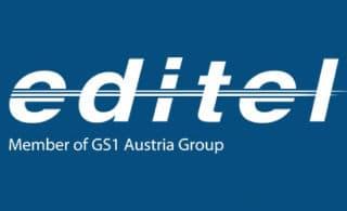 Editel Logo auf blauem Hintergrund