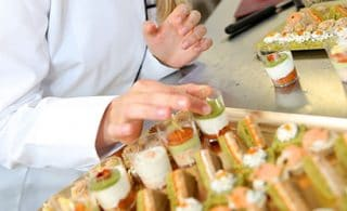 Catering colorful appetizers in small glasses