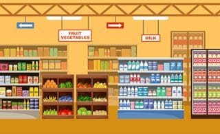 Products in the supermarket