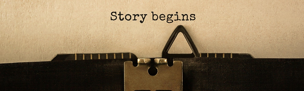 """Typewriter font """"Story begins"""" symbolic of the transition to EDI: first steps made easy"""